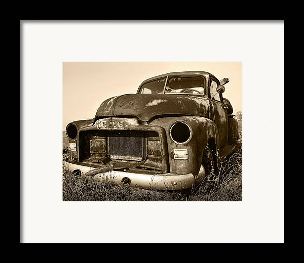 Vintage Framed Print featuring the photograph Rusty But Trusty Old Gmc Pickup Truck - Sepia by Gordon Dean II
