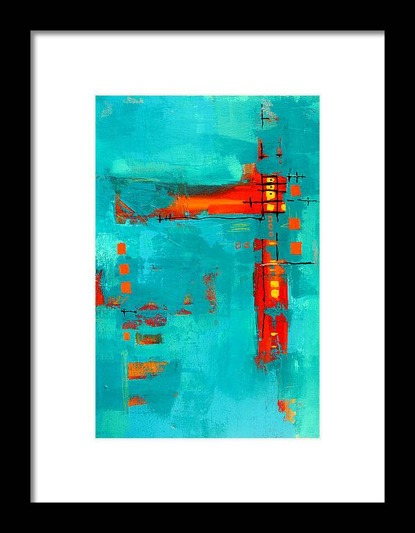 Turquoise Abstract Framed Print featuring the painting Rusty by Nancy Merkle
