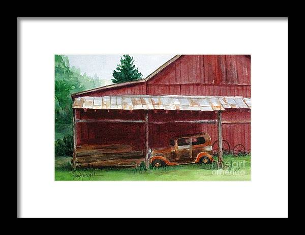 Barns Framed Print featuring the painting Rusty Ole Car by Suzanne Krueger