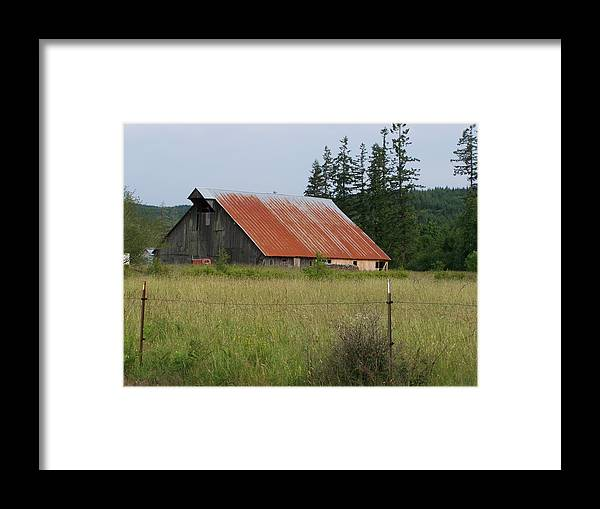 Rusty Framed Print featuring the photograph Rusty Roofed Barn  Washington State by Laurie Kidd