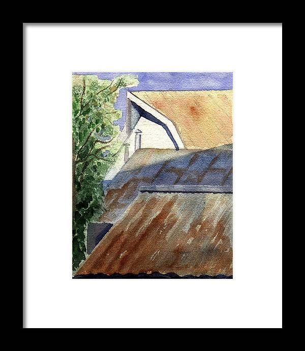 Roof Framed Print featuring the painting Rusty Roofs by Jane Croteau
