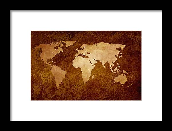Rusty Vintage World Map Framed Print By Art Spectrum