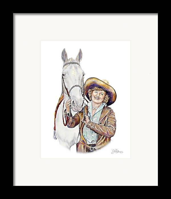 Cowgirl Framed Print featuring the painting Ruthie And The Silver Lady by Shirley Morris