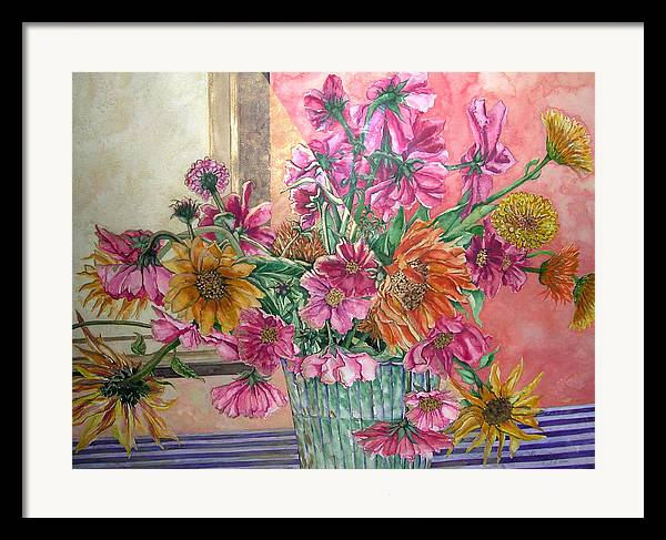Watercolor Framed Print featuring the painting Ruth's Bouquet by Caron Sloan Zuger