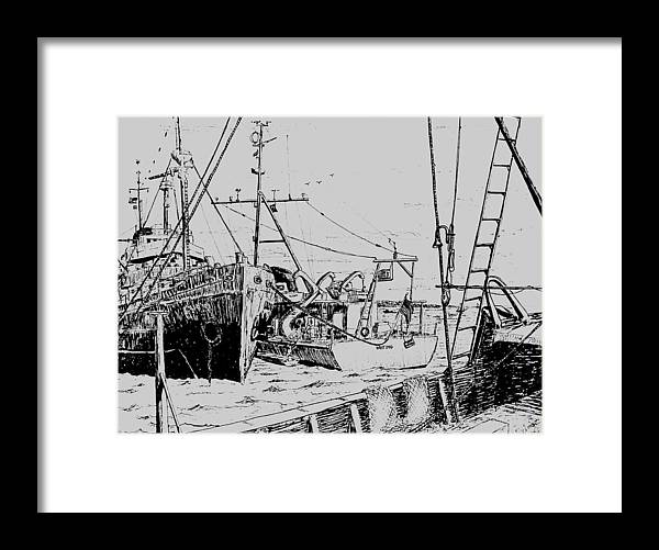 Transportation Framed Print featuring the drawing Rv Chain And Uscgss Whiting by Vic Delnore