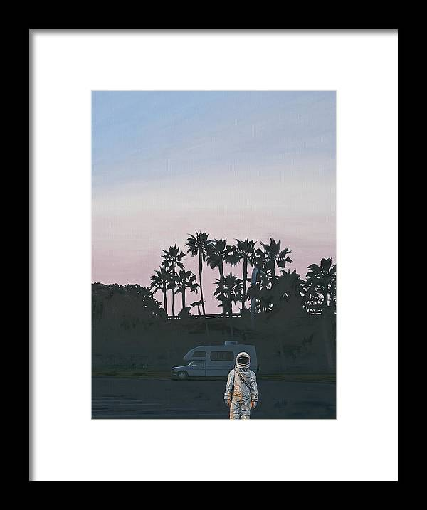 Astronaut Framed Print featuring the painting RV Dusk by Scott Listfield
