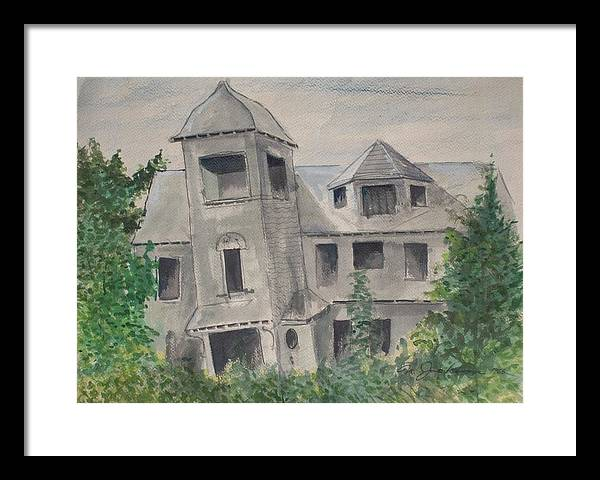 Architecture Framed Print featuring the painting Ryan's Castle by Norman F Jackson
