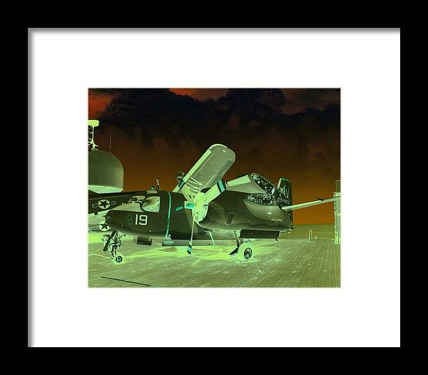 Airplane Framed Print featuring the digital art S2 On Deck by Mike Ray