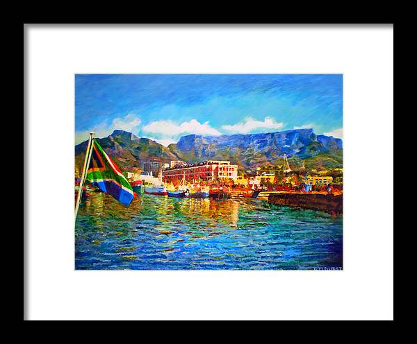 South African Framed Print featuring the painting Sa Flag At The Waterfront by Michael Durst