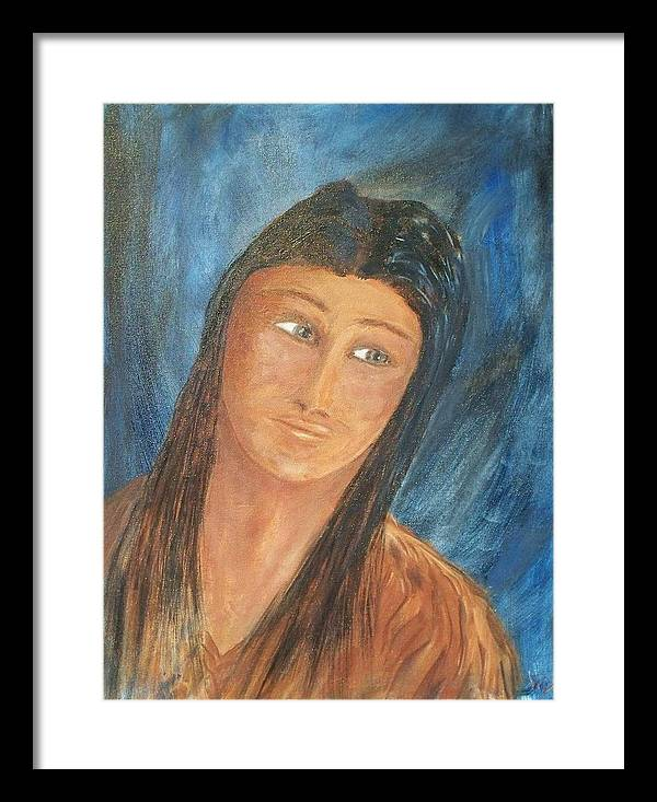 Portrait Framed Print featuring the painting Sacagawea by Larry Verch