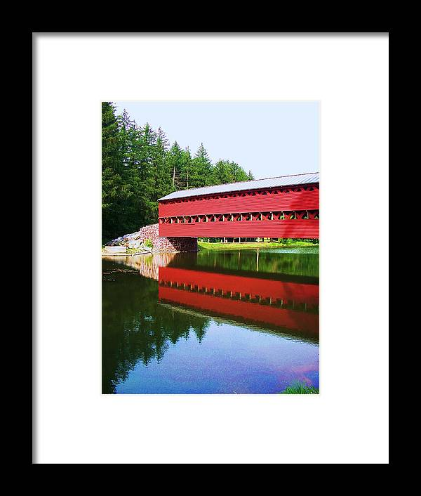 Sachs Bridge Framed Print featuring the painting Sachs Bridge by Eric Schiabor