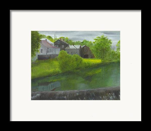 Landscape Framed Print featuring the painting Sacketts Dam by Laurel Ellis
