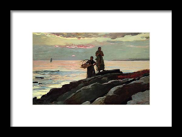 Winslow Homer Framed Print featuring the painting Saco Bay by Winslow Homer