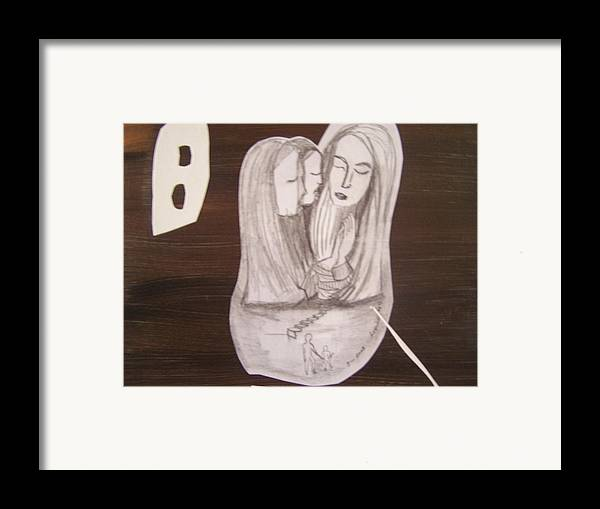 Figures Framed Print featuring the drawing Sacra Conversation by Geraldine Liquidano