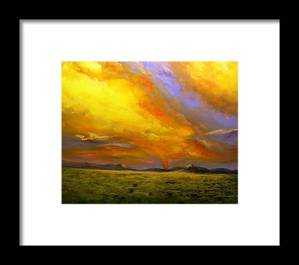 Connie Tom Framed Print featuring the painting Sacramento Mountain Sunrise by Connie Tom