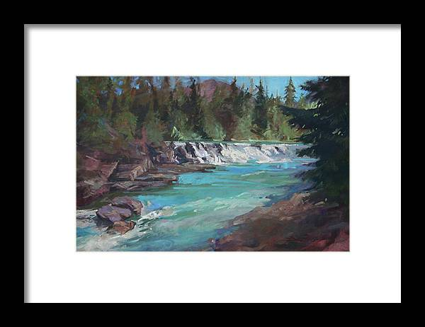 Glacier National Park Framed Print featuring the painting Sacred Dancing Cascade by Betty Jean Billups