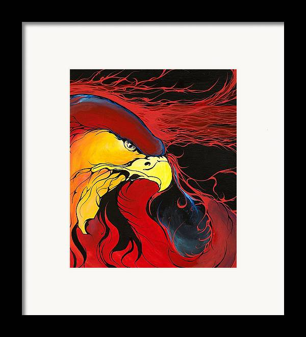 Eagle Framed Print featuring the painting Sacred Eagle by Dallas Poundmaker