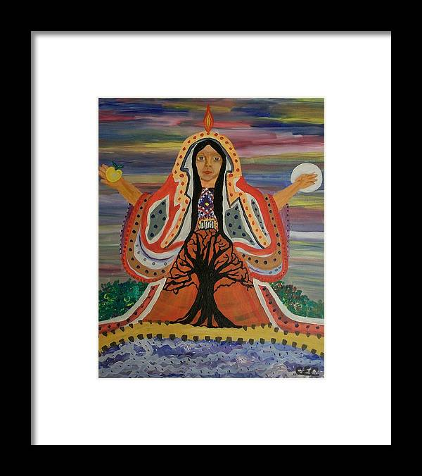 Sacred Framed Print featuring the painting Sacred Feminine by Carolyn Cable