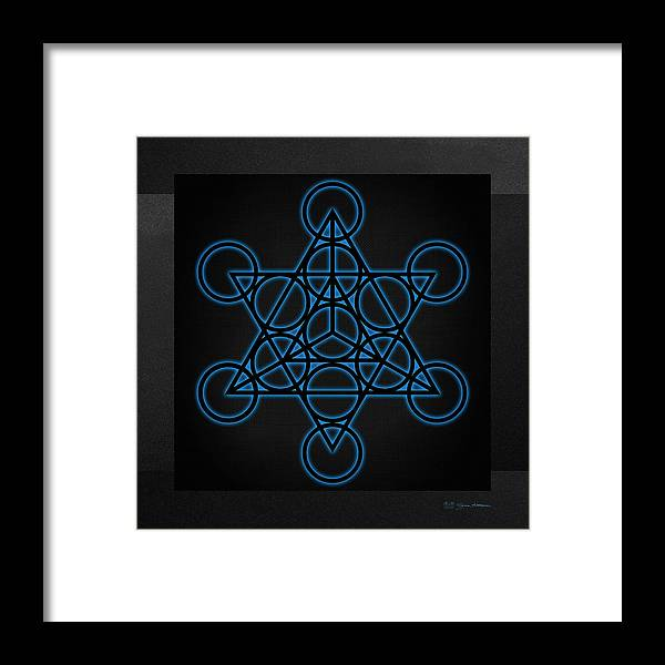 Sacred Geometry Black Star Tetrahedron With Blue Halo Over Black