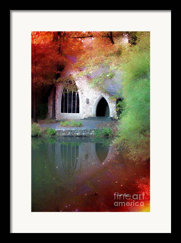 Landscape Fall Church Trees Reflection Sacred Framed Print featuring the painting Sacred Silence by Carolyn Staut