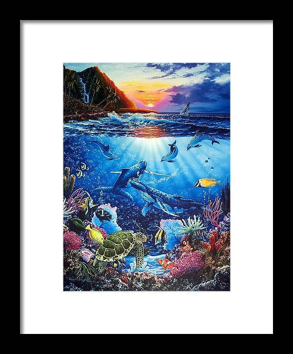 Whales Framed Print featuring the painting Sacred Waters by Daniel Bergren