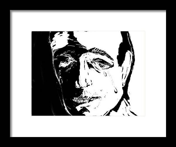 Guy Framed Print featuring the digital art SAD by Jessica Mason