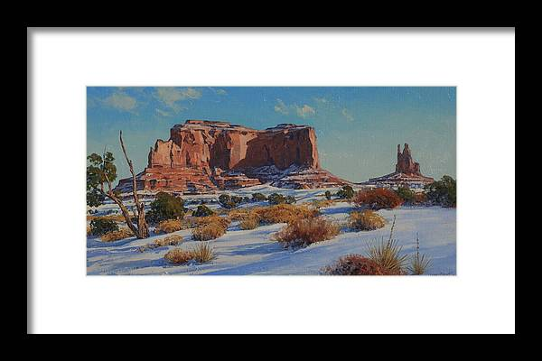 Landscape Framed Print featuring the painting Saddleback Butte-monument Valley by Lanny Grant