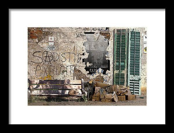 Urban Landscape Framed Print featuring the digital art Sadistic Exploits by Tom Romeo