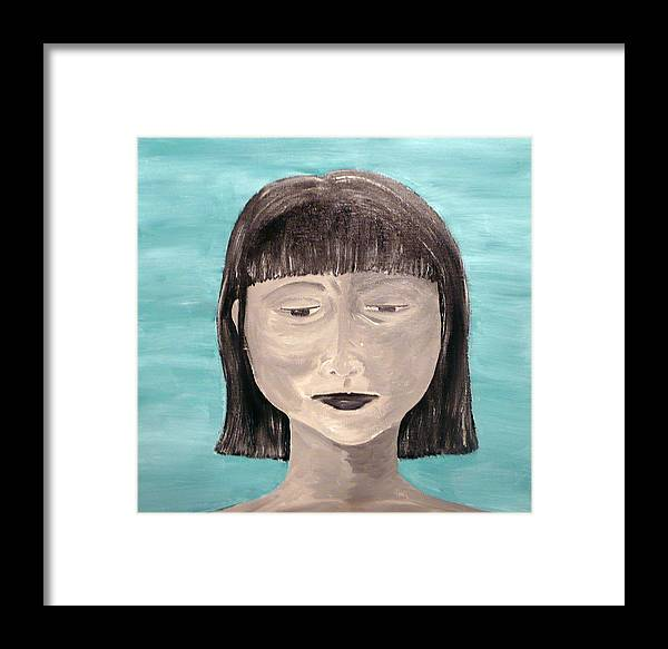 Portrait Framed Print featuring the painting Sadness by Jennifer Hernandez