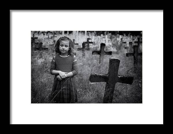 Cemetry Framed Print featuring the photograph Sadness by Mirjam Delrue