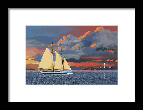 Schooner Yawl Sloop Ketch Sailing Sailor Ship Boat Freighter Sailing Ocean Sea Lake Stream River Cargo Storm Stormy Clouds Thunder Lightening Framed Print featuring the digital art Safe haven by Gary Giacomelli