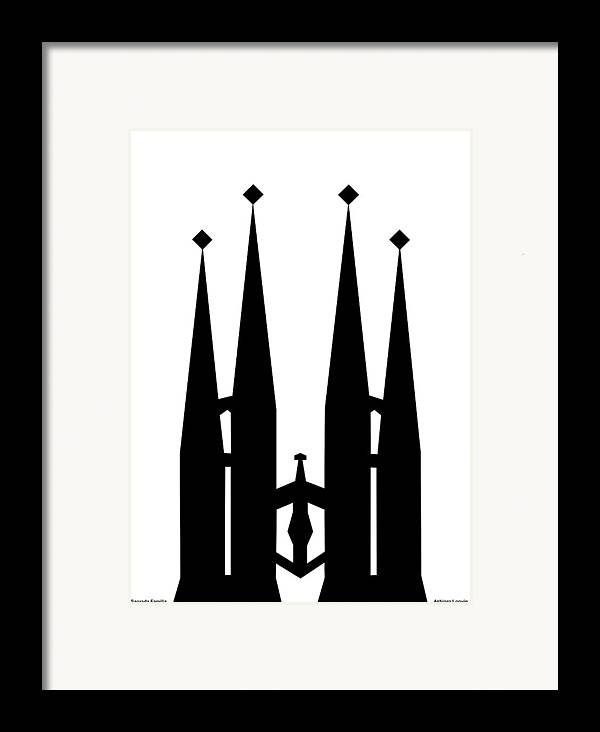 Sagrada Familia Framed Print featuring the digital art Sagrada Familia by Asbjorn Lonvig