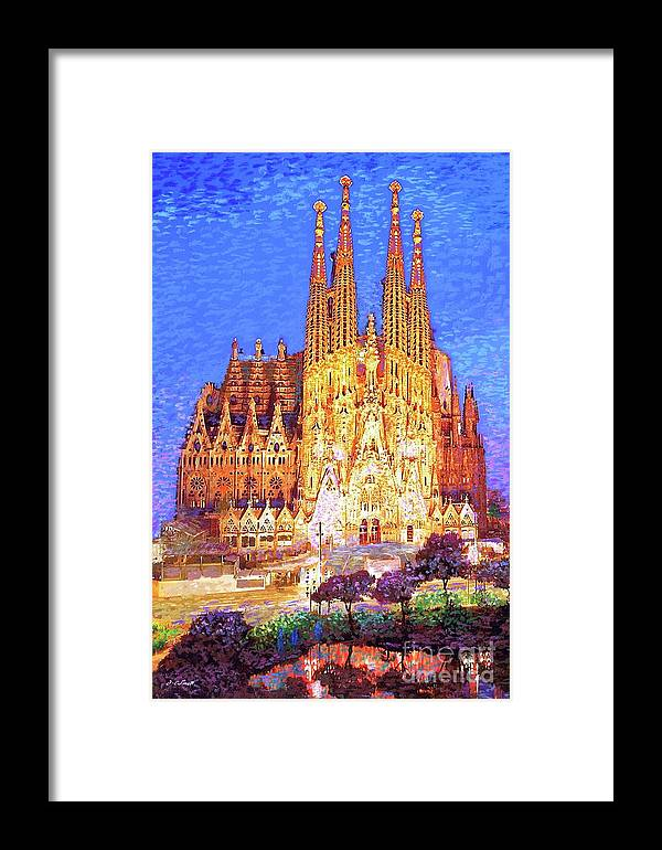 Spain Framed Print featuring the painting Sagrada Familia At Night by Jane Small