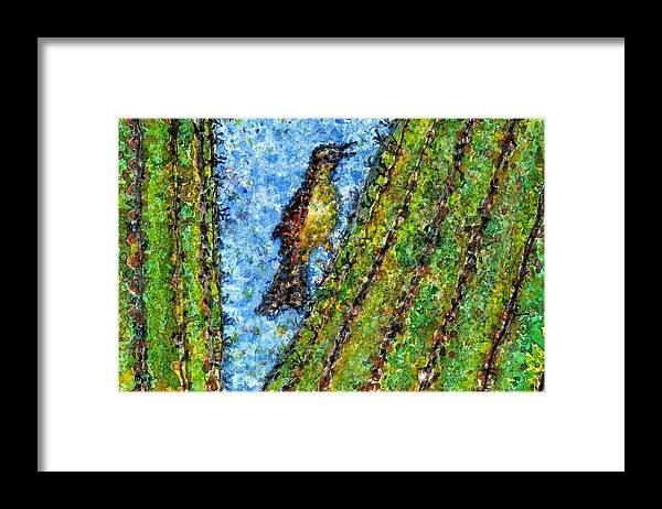 Watercolor Framed Print featuring the painting Saguaro Cactus With Woodpecker by Cynthia Ann Swan