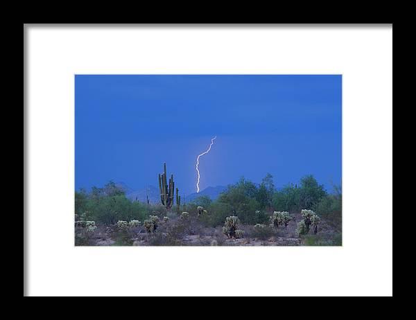 Lightning Framed Print featuring the photograph Saguaro Desert Lightning Strike Fine Art by James BO Insogna
