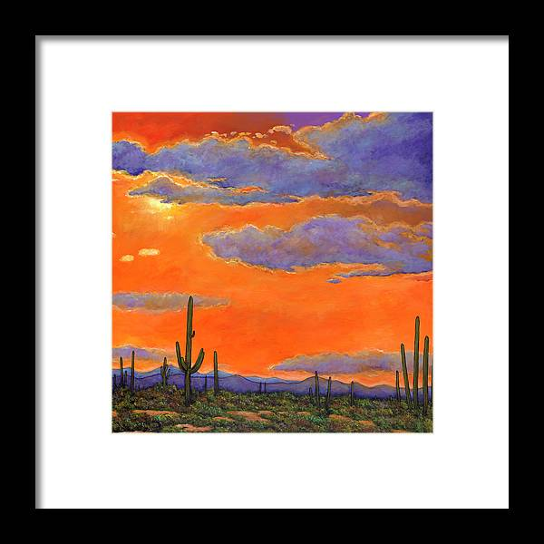 Southwest Art Framed Print featuring the painting Saguaro Sunset by Johnathan Harris