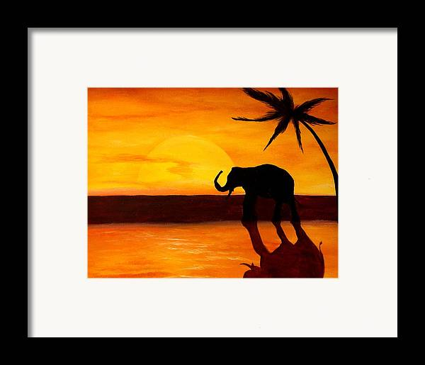 Landscape Framed Print featuring the painting Sahara Susnet by Glory Fraulein Wolfe