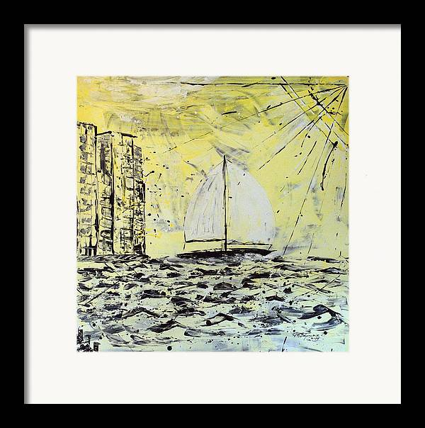 Abstract Framed Print featuring the painting Sail And Sunrays by J R Seymour