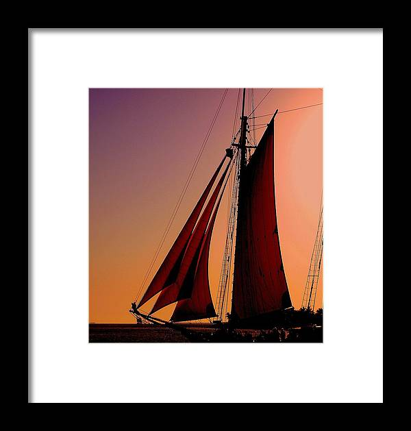 Sailing Framed Print featuring the photograph Sail At Sunset by Susanne Van Hulst