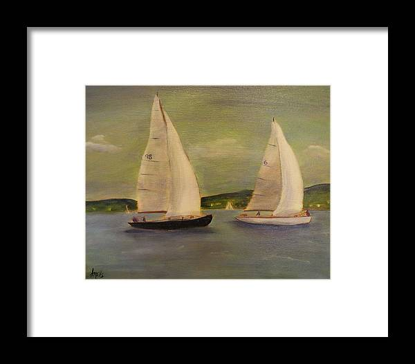 Sail Boats Framed Print featuring the painting Sail Away by Lesley Mills