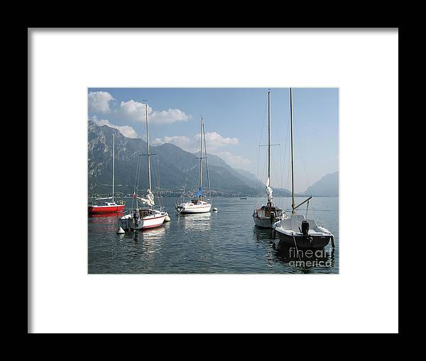 Italy Framed Print featuring the photograph Sail Boats, Lake Como, Italy by Focus Far and Wide