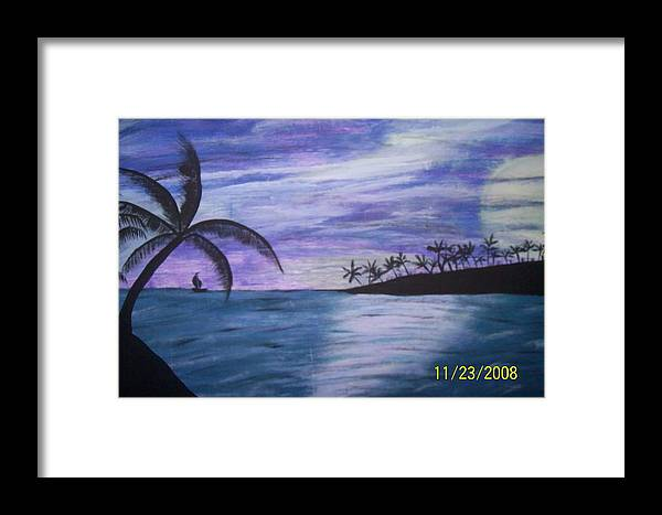 Palm Trees Framed Print featuring the painting Sail On by Paula Ferguson