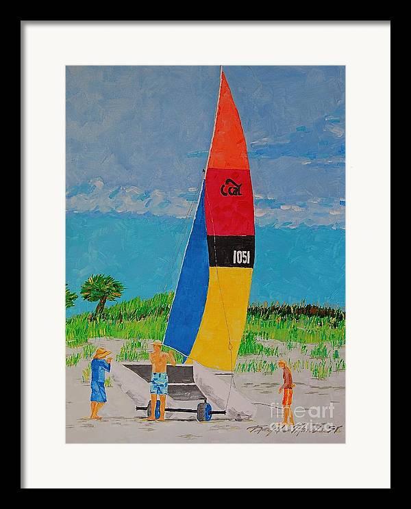 Beach Art Framed Print featuring the painting Sail Preparation by Art Mantia