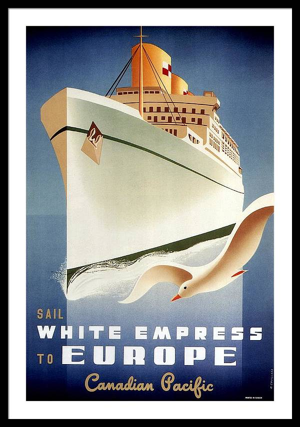 Sail White Empress to Europe - Canadian Pacific - Retro travel Poster - Vintage Poster by Studio Grafiikka