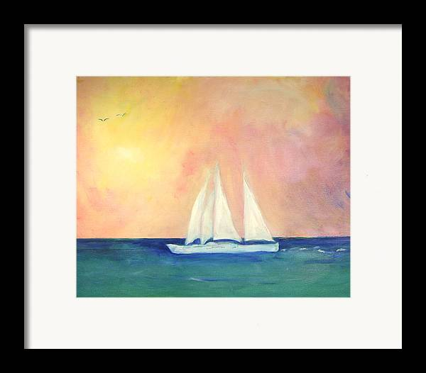 Coastal Framed Print featuring the painting Sailboat - Regatta Of One by Michela Akers
