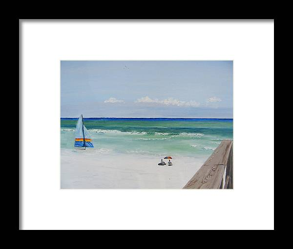 Seascape Framed Print featuring the painting Sailboat At Blue Mountain Beach by John Terry