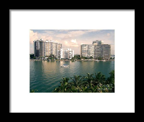 Miami Beach Framed Print featuring the photograph Sailboat In Miami Beach Florida by Phil Perkins