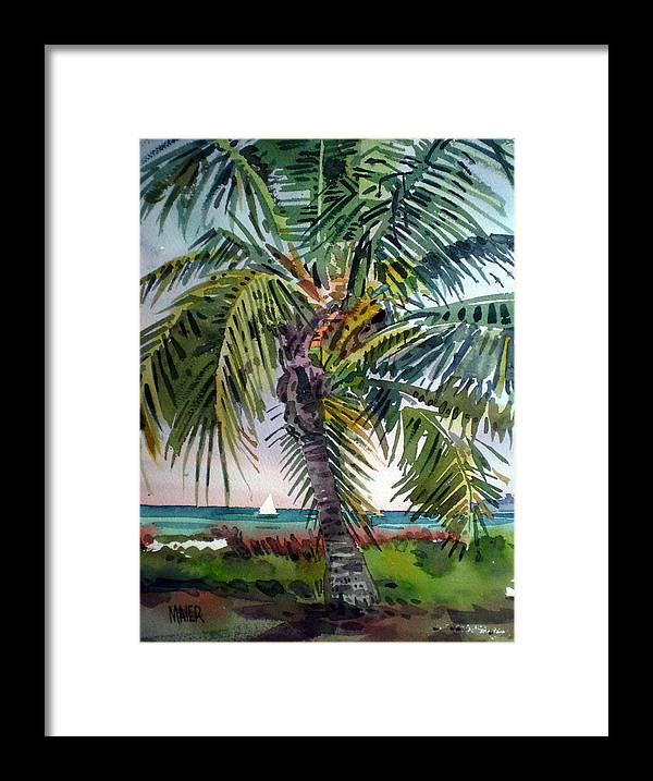 Palm Tree Framed Print featuring the painting Sailboat in the Keys by Donald Maier