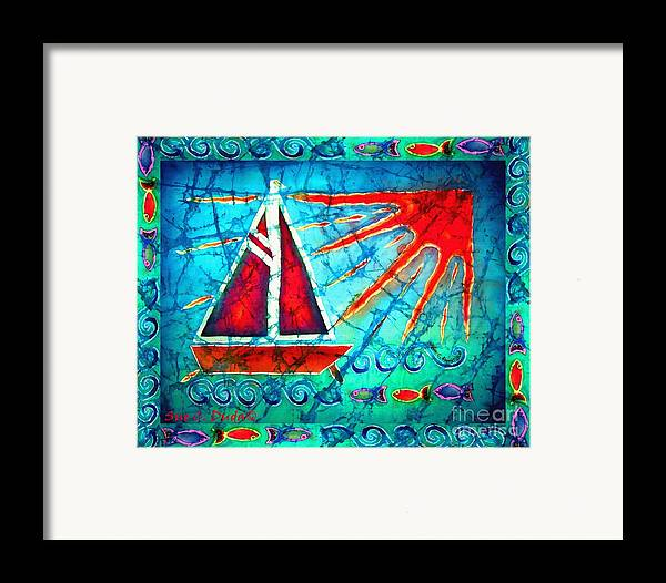 Sailboat Framed Print featuring the painting Sailboat In The Sun by Sue Duda