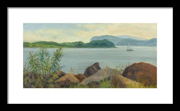 Oil Landscape Framed Print featuring the painting Sailboat Near Croton Landing by Phyllis Tarlow